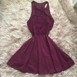 Hollister Burgundy High Neck Lace Dress